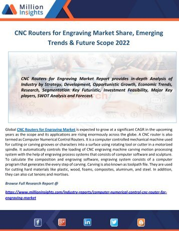 CNC Routers for Engraving Market Share, Emerging Trends & Future Scope 2022