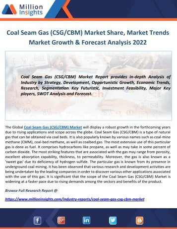 Coal Seam Gas (CSG CBM) Market Share, Market Trends Market Growth & Forecast Analysis 2022