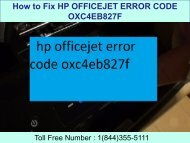 8005769647 How to Fix HP Officejet Error Code OXC4EB827F