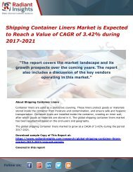 Shipping Container Liners Market is Expected to Reach a Value of CAGR of 3.42% during 2017-2021