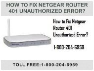 Call 18442003971 to Fix Netgear Router 401 Unauthorized Error