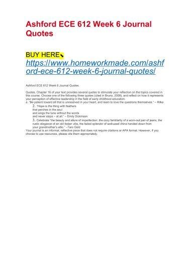 Ashford ECE 612 Week 6 Journal Quotes