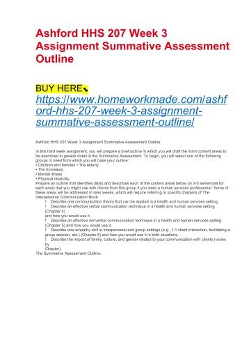 Ashford HHS 207 Week 3 Assignment Summative Assessment Outline