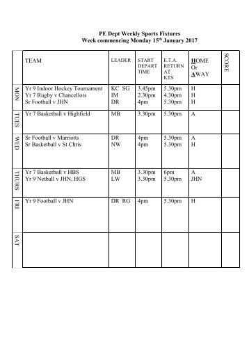 Fixtures 15 Jan