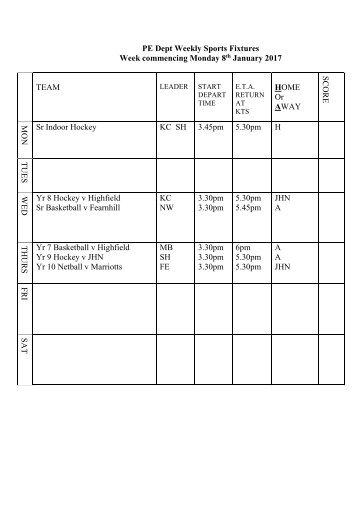 Fixtures 8 Jan