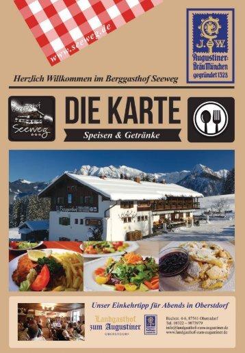 Berggasthof Seeweg Winter Speisekarte
