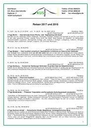 REISEN, KREUZFAHRTEN und TAGESFAHRTEN 2018 - KUS Reisen 73107 Eschenbach