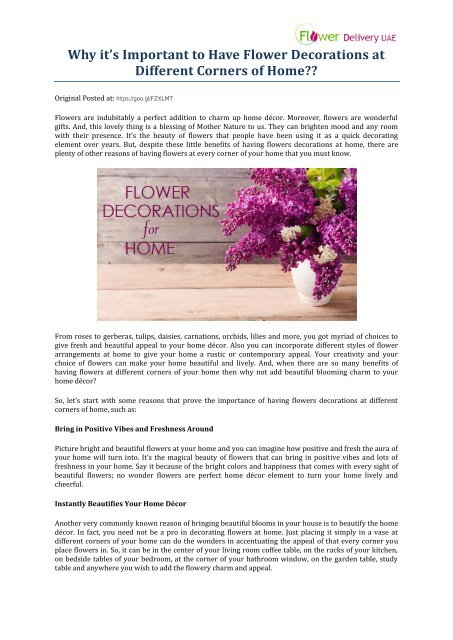 Why It S Important To Have Flower Decorations At Different