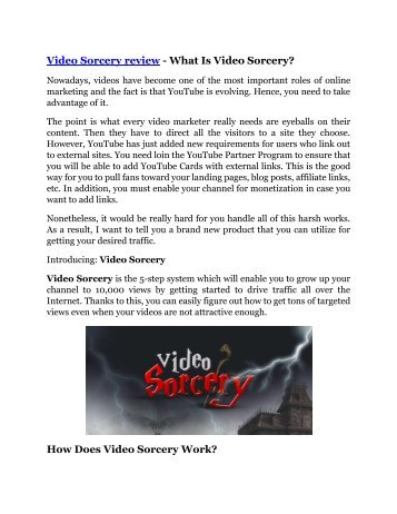 Video Sorcery review and (MEGA) bonuses – Video Sorcery