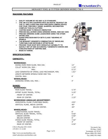 a is cm-2 - Novatech Inc.