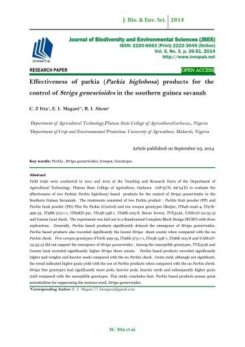 Effectiveness of parkia (Parkia biglobosa) products for the control of Striga genesrioides in the southern guinea savanah