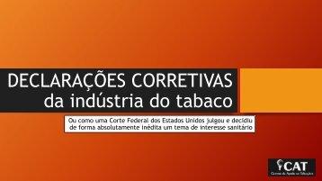 CAT_ Justiça Americana Condena Indústria do Tabaco a Declarações Corretivas