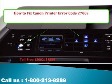 Fix Canon Printer Error Code 2700 by 1-800-213-8289