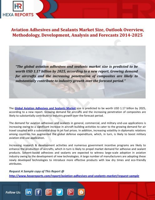 Aviation Adhesives and Sealants Market Size, Outlook Overview