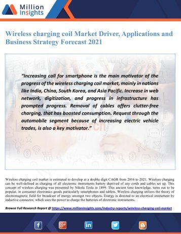 Wireless charging coil Market Driver, Applications and Business Strategy Forecast 2021