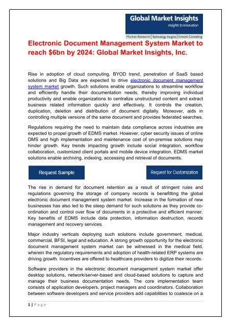 Electronic Document Management System Market To Reach 6bn By 2024