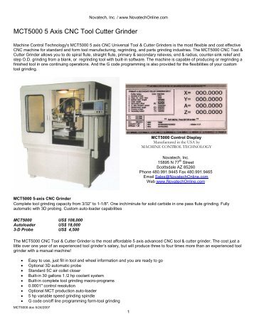 MCT5000 5-axis CNC Tool Grinder - Novatech Inc.