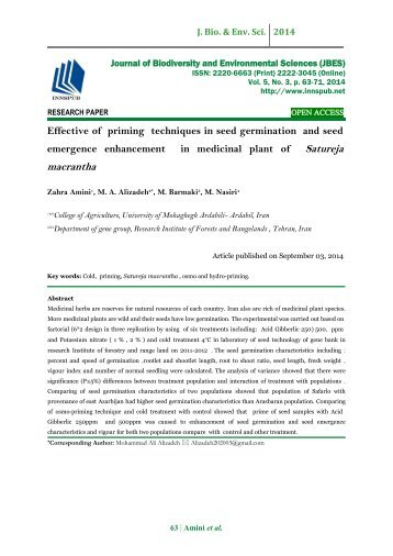 Effective of priming techniques in seed germination and seed emergence enhancement in medicinal plant of Satureja macrantha