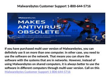 Malwarebytes Customer Care Number  1-800-644-5716