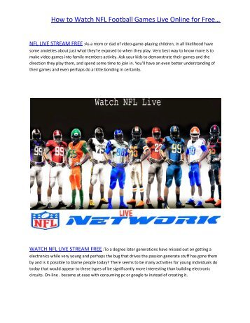 How to Watch NFL Games Live Online for Free..