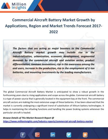 Commercial Aircraft Battery Market Growth by Applications, Region and Market Trends Forecast 2017-2022