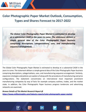 Color Photographic Paper Market Outlook, Consumption, Types and Shares Forecast to 2017-2022