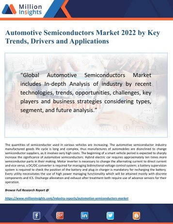 Automotive Semiconductors Market 2022 In-depth Analysis by History Review, Trends and Growth Factors