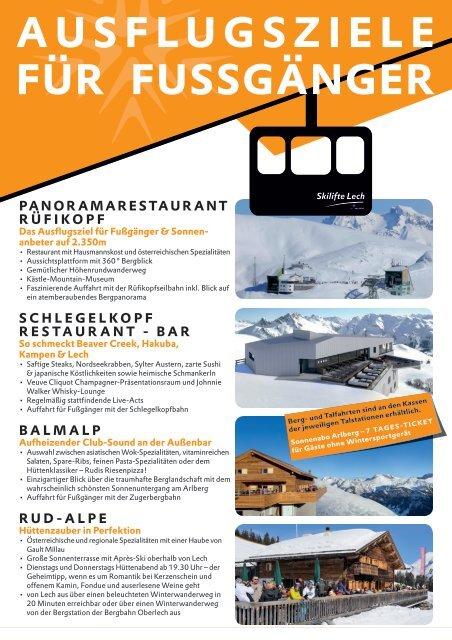 Ausflugsziele für Fußgänger in Lech