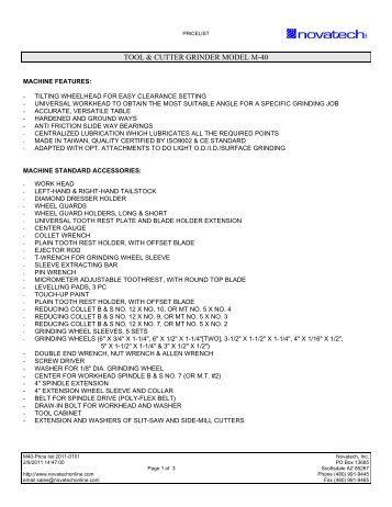 M40 Tool Grinder Price List - Novatech Inc.