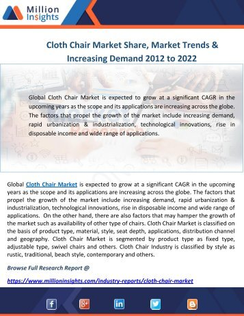 Cloth Chair Market Share, Market Trends & Increasing Demand 2012 to 2022