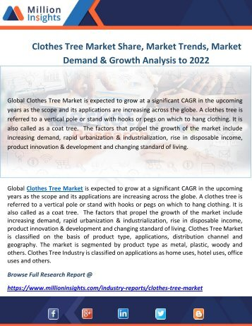 Clothes Tree Market Share, Market Trends, Market Demand & Growth Analysis to 2022