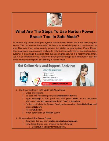 What Are The Steps To Use Norton Power Eraser Tool In Safe Mode
