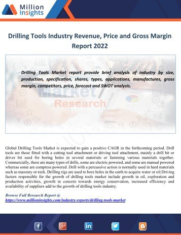 Drilling Tools Industry Revenue, Price and Gross Margin Report 2022