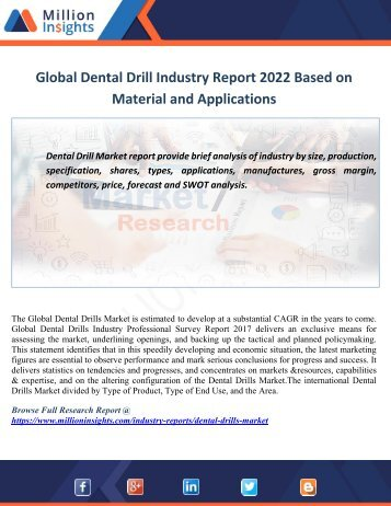 Global Dental Drill Industry Report 2022 Based on Material and Applications