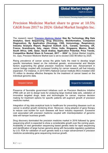 Precision Medicine Market to reach $96 Bn by 2024