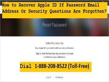 1-888-208-8522 How to Recover Apple ID Password | Forget Apple ID