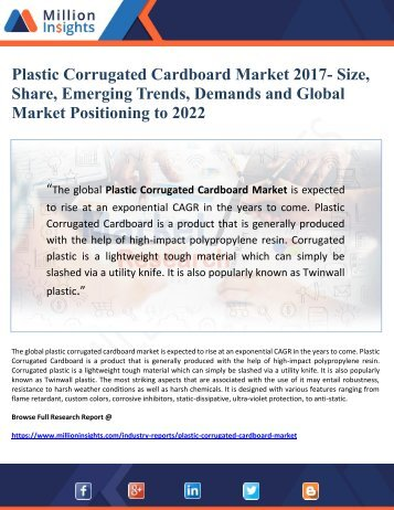 Plastic Corrugated Cardboard Market 2017- Size, Share, Emerging Trends, Demands and Global  Market Positioning to 2022