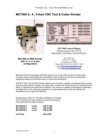 3 to 5 Axis CNC Tool & Cutter Grinder - Novatech Inc.