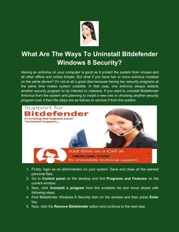 What Are The Ways To Uninstall Bitdefender Windows 8 Security