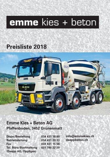 Preisliste Emme Kies und Beton AG 2018