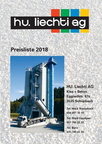 Preisliste H.U. Liechti AG 2018