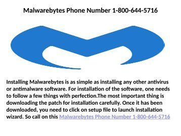 Malwarebytes Contact Number 1-800-644-5716