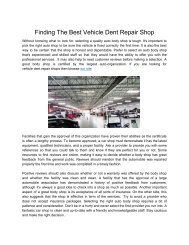 Finding The Best Vehicle Dent Repair Shop