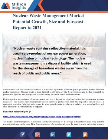 Nuclear Waste Management Market Potential Growth, Size and Forecast Report to 2021