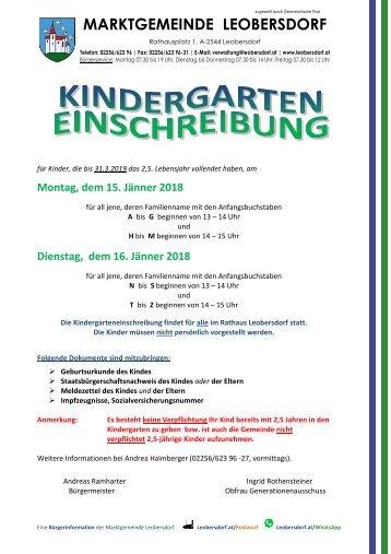 Postwurf Dezember 2017 / Marktgemeinde Leobersdorf