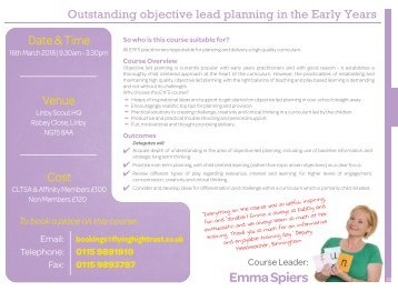 Outstanding objective led planning in the early years