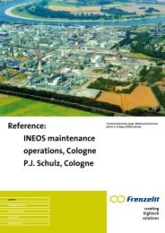 Reference: INEOS maintenance operations, Cologne P.J. Schulz ...