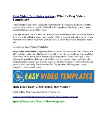 Easy Video Templates review and (MASSIVE) $23,800 BONUSES
