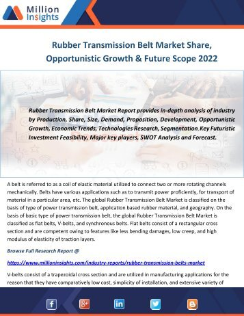 Rubber Transmission Belt Market Share, Opportunistic Growth & Future Scope 2022