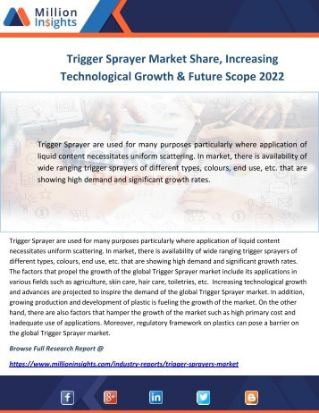 Trigger Sprayer Market Share, Increasing Technological Growth & Future Scope 2022